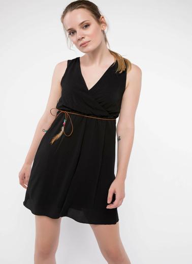 DeFacto Beli Büzgülü Anvelop Elbise Siyah